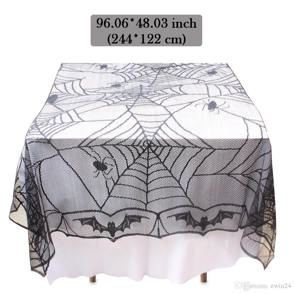 Скатерть крышка таблицы Прямоугольный паук украшения партии Kit для Halloween Party украшения полиэфирного волокна кружева дизайн