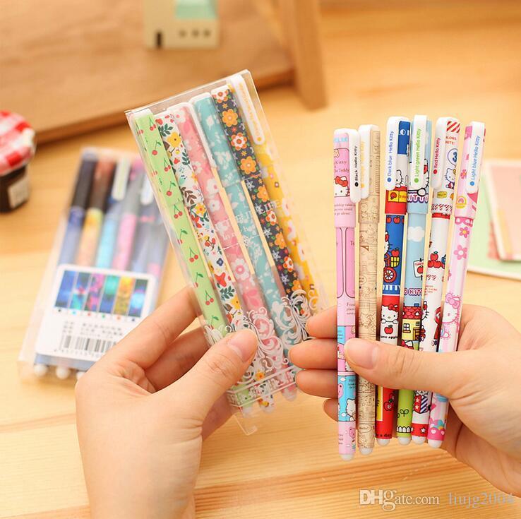 6 pz / set / lotto forniture per ufficio scuola hotsale kawaii cancelleria coreana colorato penne gel inchiostro set carino cartoni animati penne firma forniture per la scrittura