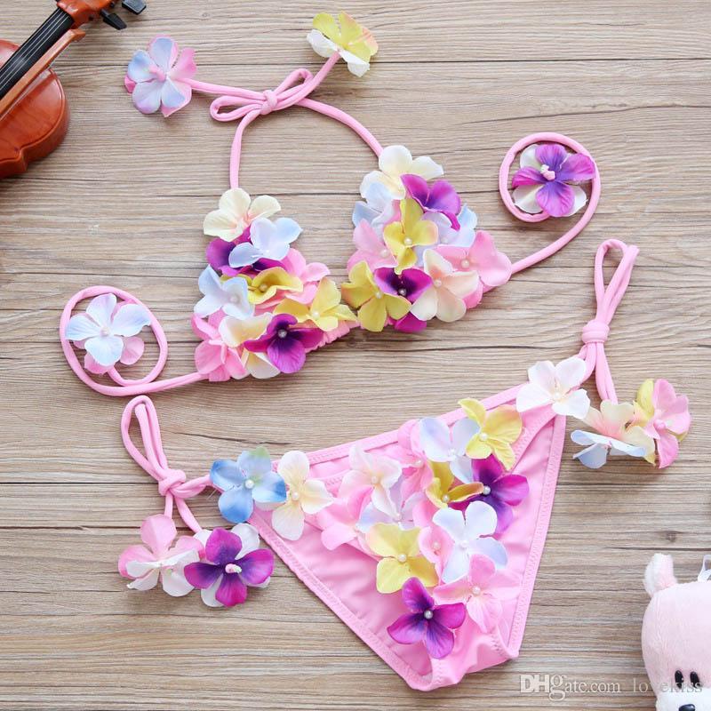2017 nuovi Costumi da bagno per bambini abbastanza carino fiore Ragazze Bikini Bambini Costumi da bagno bambino due pezzi di nuoto bambino Imposta Beachwear A585