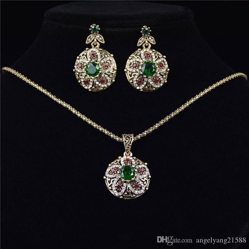 Fashion Alloy Plated Emerald Glass Gem Filled Jewelry Sets For Women Vintage Retro Luxury Necklace Earrings Rings