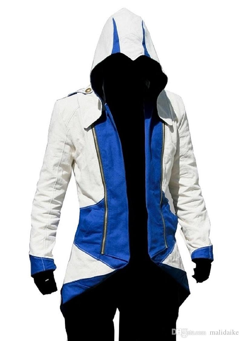 Malidaike Game Unisex Figura Assassin's Creed 3 Connor Kenway Hoodie Jacket Zip Up Sweatershirt Cosplay Costume