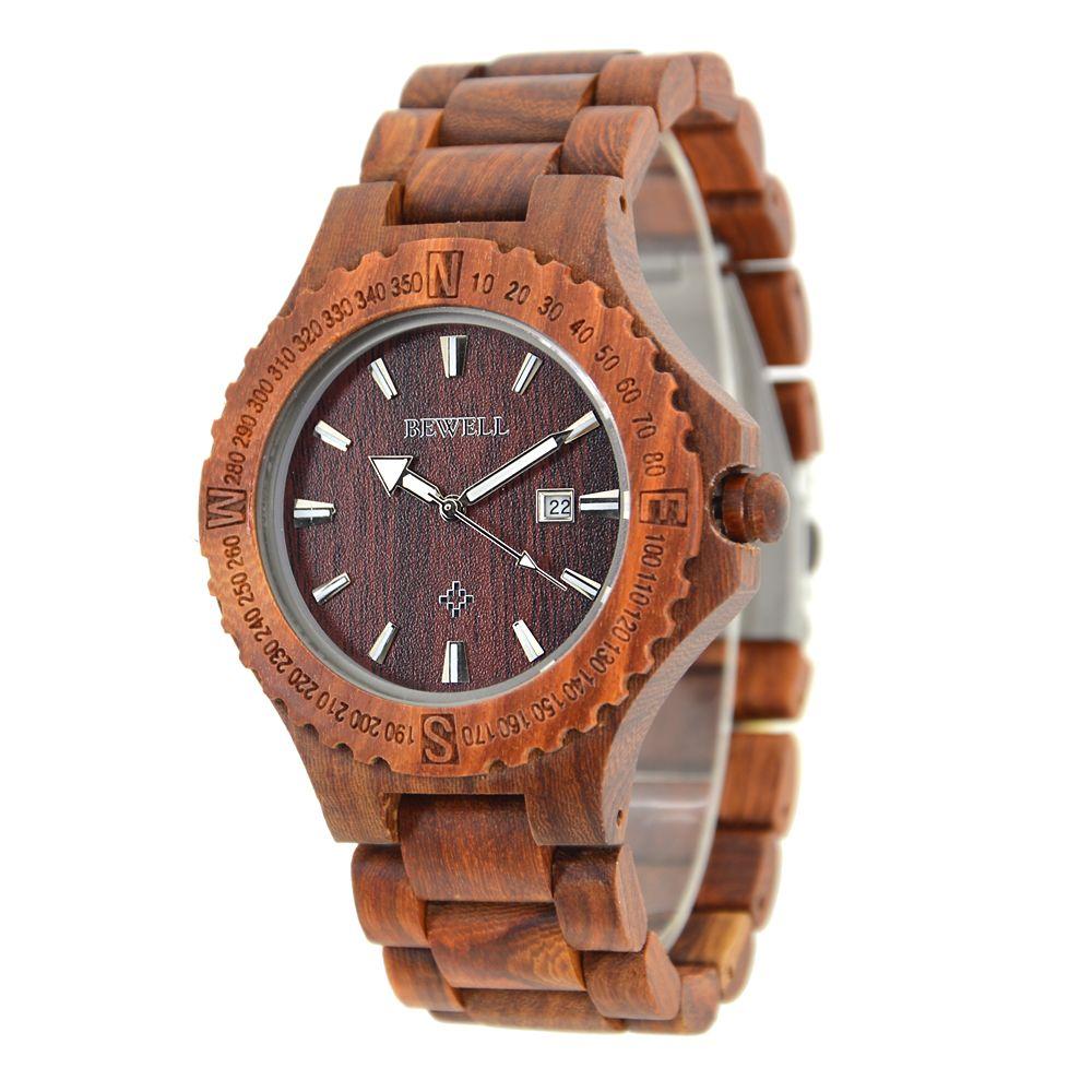 BEWELL Wood Quartz Wrist Watch Original Wood Color Calendar Display on Unique Gear Shape Dial and Luminous Pointer Watch for Men ZS-23A