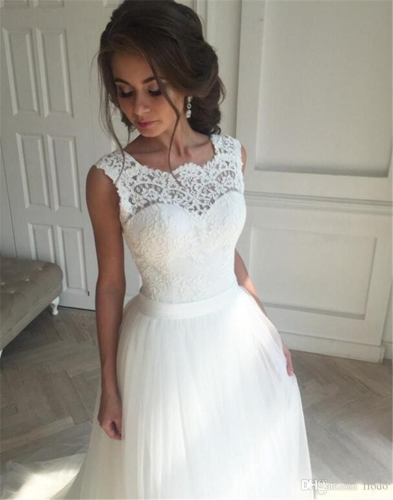 Vintage Lace Country Style Wedding Dresses 2017 Ivory Tulle Applique ...