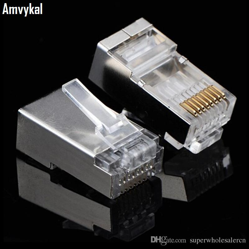 Computer Cables 100 pcs RJ45 Shielded Plug Cat5 8P8C LAN Connector Network Network Cables
