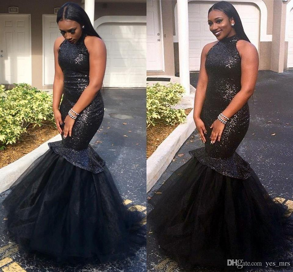 2018 New Sexy Cheap Black Long Mermaid 2k17 Prom Dresses Sequins Sparkle High Neck Backless Long Plus Size Formal Party Gowns Evening Dress