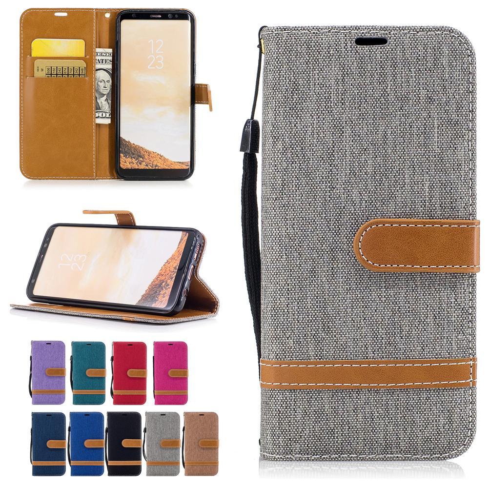 Per Samsung Galaxy S8 Custodie Cover in tessuto da cowboy in pelle con tasche per carte Flip Bucklet Hand Strap