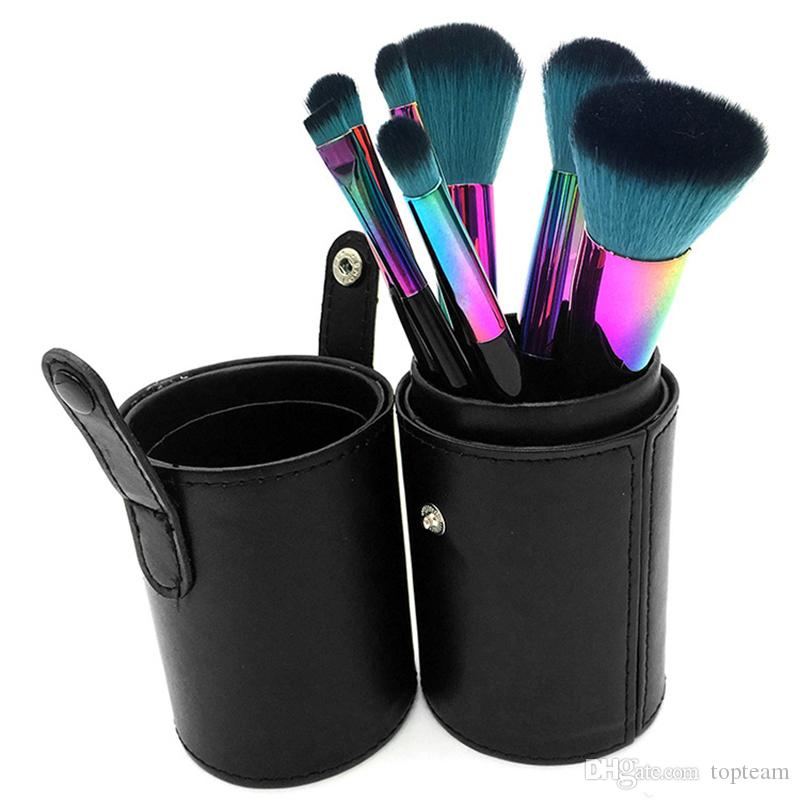 7pcs Rianbow Makeup Brushes Sets for Foundation Powder Contour Fish Scales Multipurpose Beauty Rainbow Cosmetic Make Up Brush Kits with Bag
