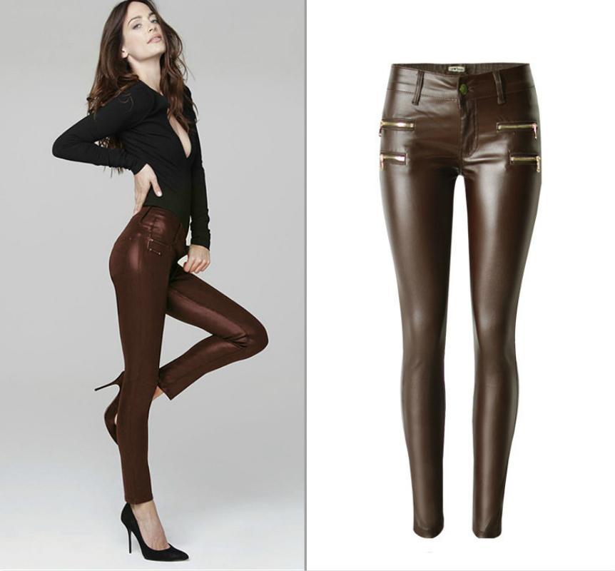 Vente en gros - taille basse PU Skinny Jeans Femmes de haute qualité Faux de zippers enduit Pantalon Pantalon Femme lavé Café imitation Cuir Vaqueros Mujer