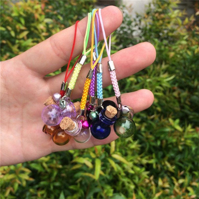 Bottles Lamp Shape Pendants Mini Bell Bracelets Bottles with Key Chains Jars Glass Pendants Wedding Gift Mixed Colors1