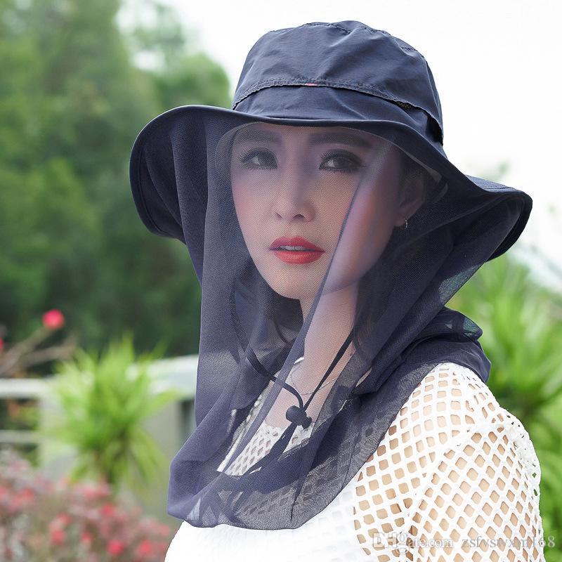 تسلق الجبال في الهواء الطلق لمكافحة البعوض الرقبة حماية قبعة الشمس غزل صافي ركوب الغبار قبعة قبعة محايدة