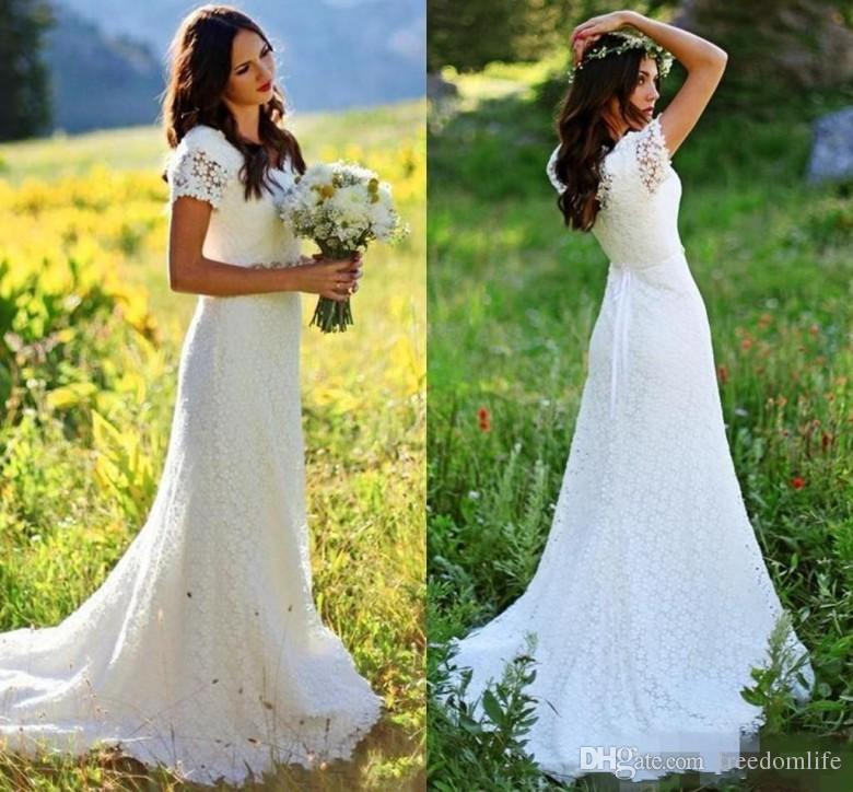 Stunning V Neck Full Lace Boho Wedding Dresses Short Sleeves Beaded Country Style Bridal Gowns With Crystals Belt Mermaid robes de mariée