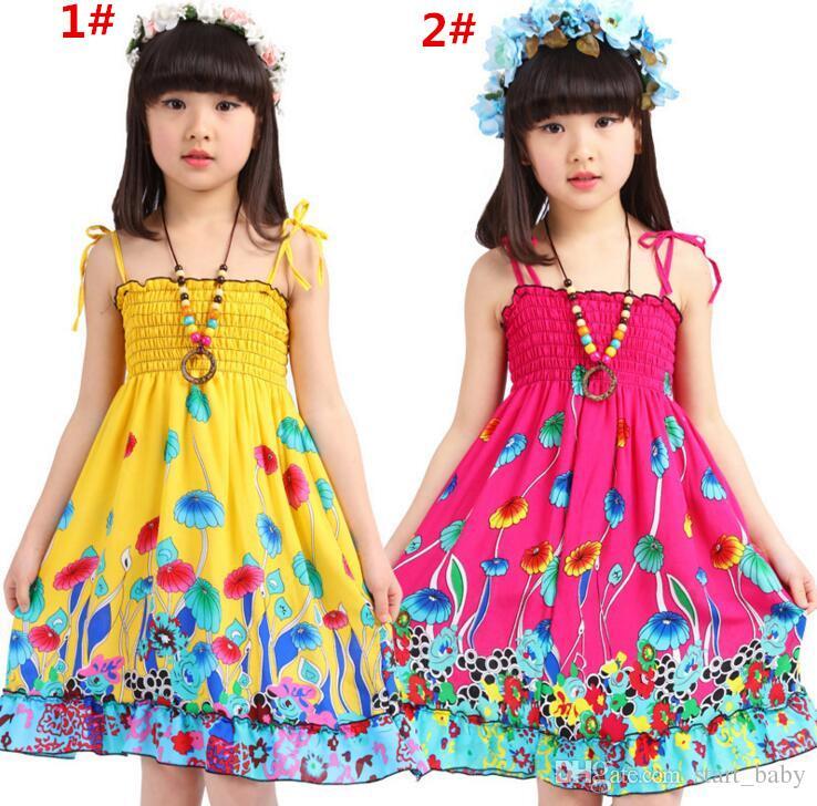 Girls Cotton Backless Bohemian Beach Dress Summer Elastic Bust with Shoulder-straps Children Dress 8 Colors