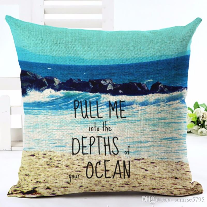 Inspirational Quotes Cushion Cover Love Ocean Decoration For Sofa Chaise Holiday Scenic Lounge Throw Pillow Case Modern Almofada Wicker Replacement
