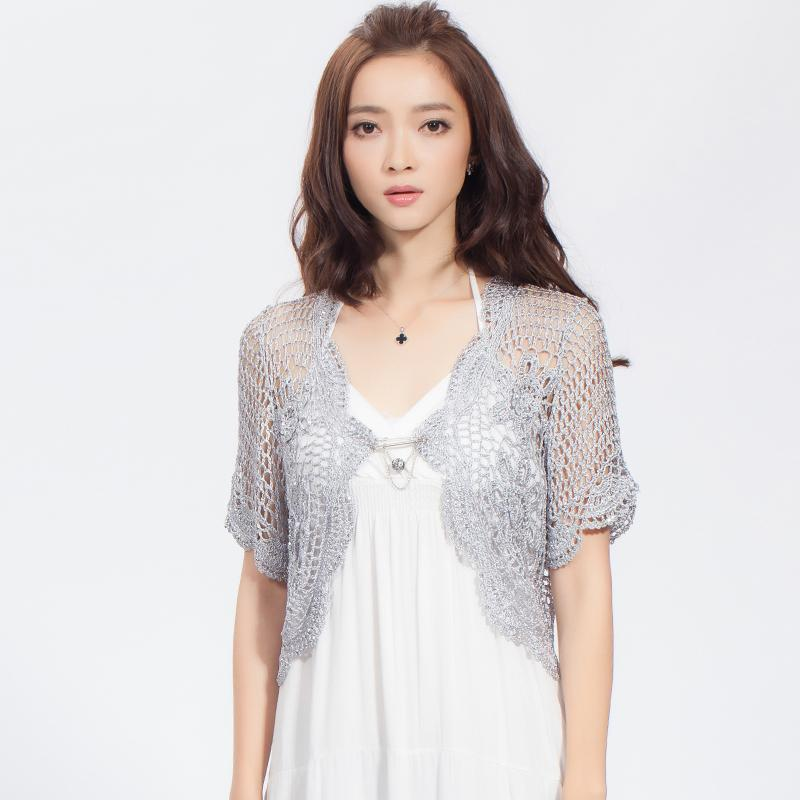 Wholesale-Womens Hollow out hand knitted shrugs 4 Colors Short Sleeve Cardigan hot 2016 Summer Hand Crochet Sun-protective clothing 8040