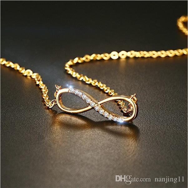 CZ Kadınlar Için Infinity Kolye Kolye Altın Kaplama Gerdanlık Charm Kolye Moda Takı NC-205