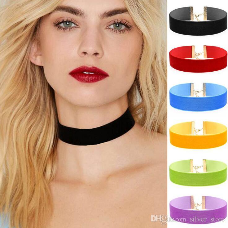 Новый взрывной моды преувеличены воротник ожерелье бархат ожерелье ожерелье WFN253 (с цепи) смешать порядка 20 штук много