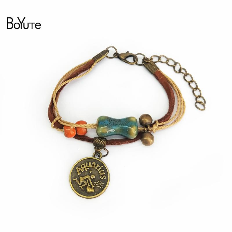BoYuTe 12Pcs Vintage Handmade Knitted Adjustable Ceramic Bead Charm Bracelet Zodiac Bracelet for Women Fashion Jewelry