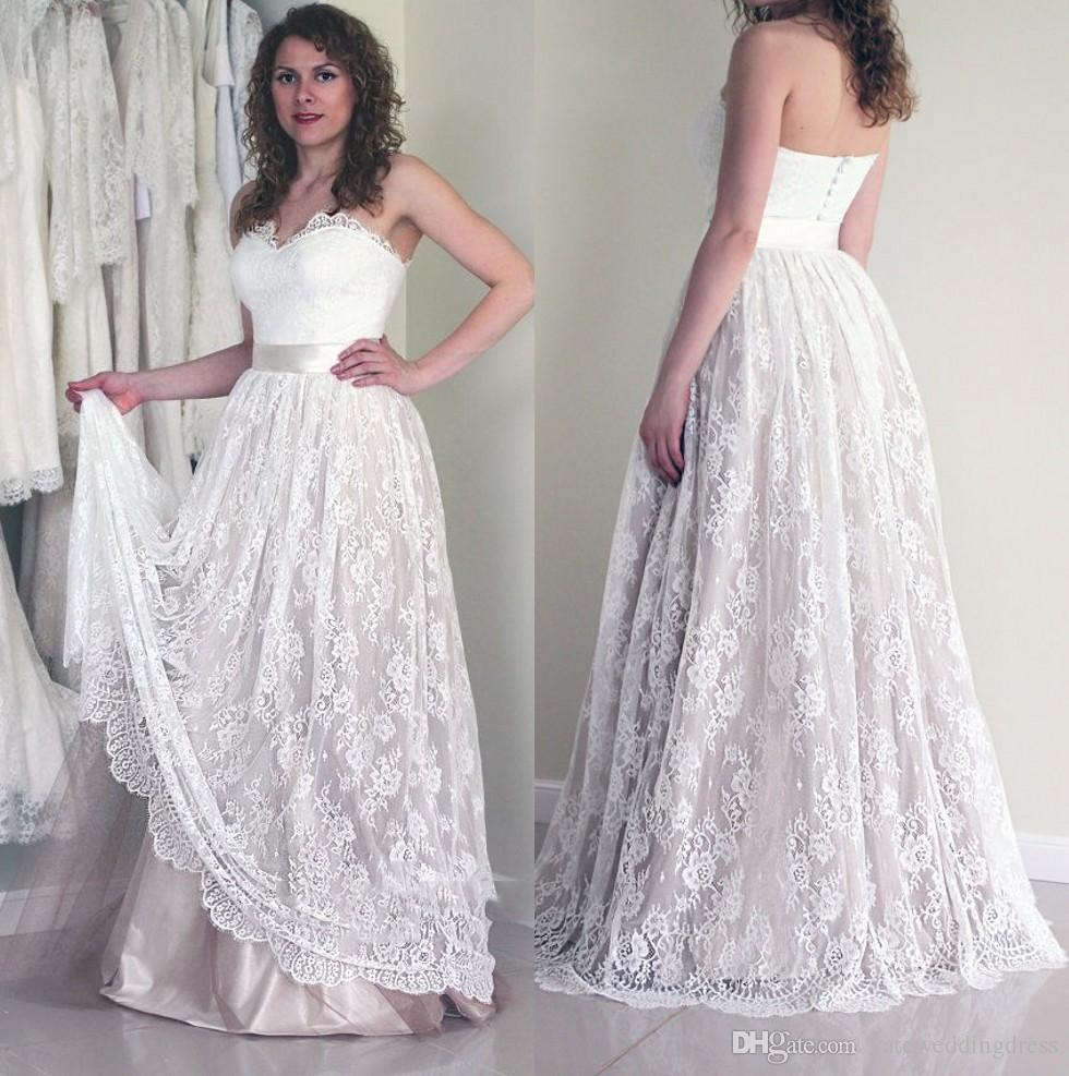 White Elegant Lace Wedding Dresses Spaghetti Sleeveless Tiered Ruffle Bridal Gowns Back Covered Button Floor-Length Custom Made Wedding Gown