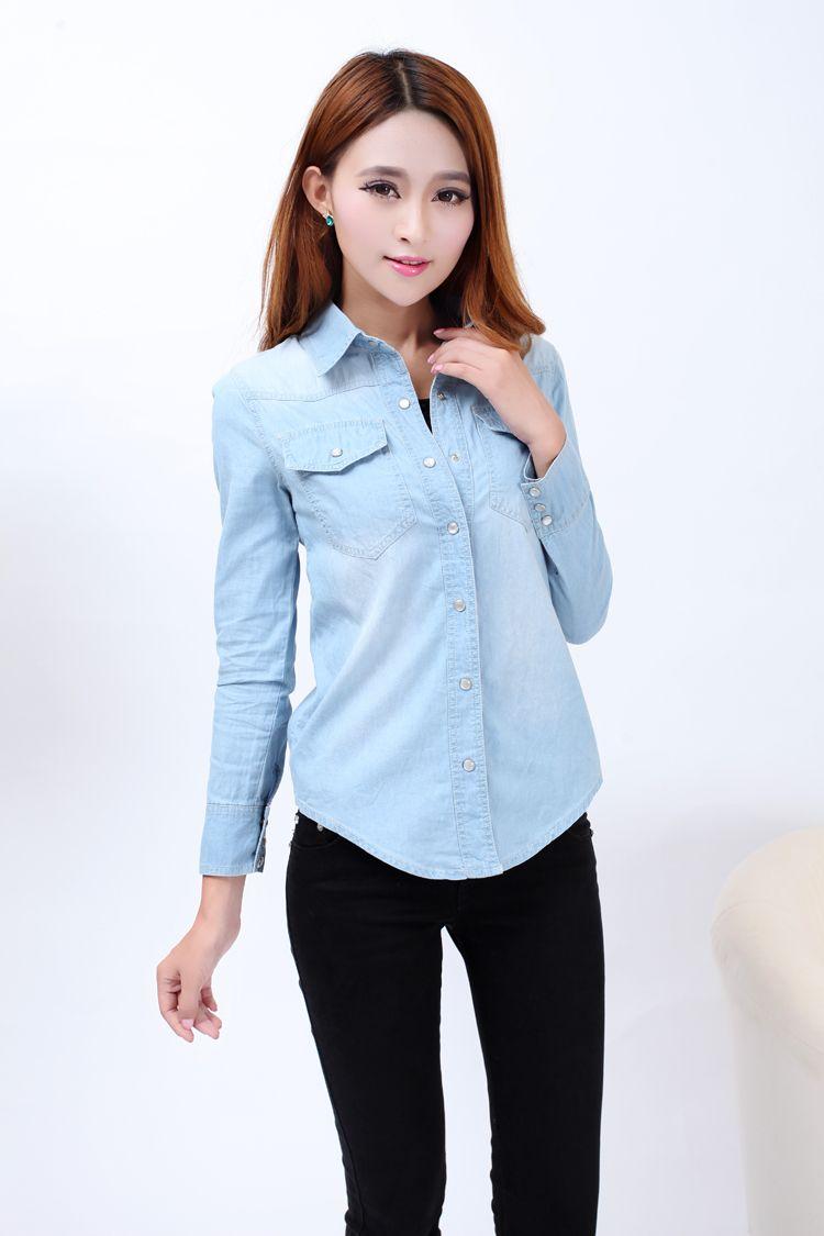 b50d19d496a New 2017 Spring Woman Denim Shirt Fashion Style Long Sleeve Casual Shirts  Women 2 Colors Blouses Plus Size Blusa Jeans Feminina