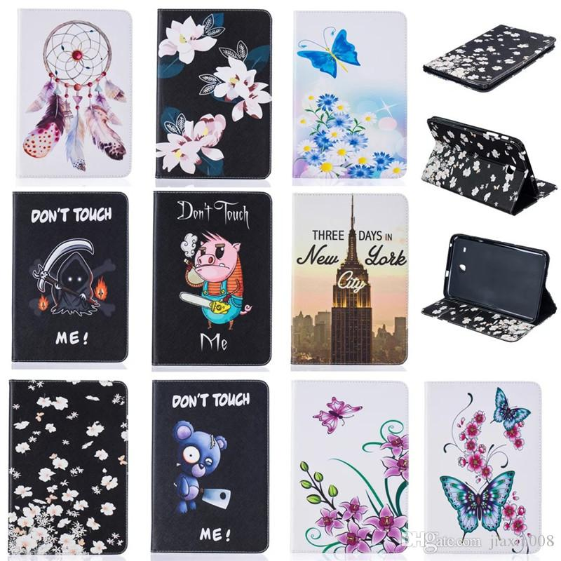 """Tablet case For Samsung Galaxy Tab A 8.0"""" T350 T355 Cover Wallet Stand Leather Case With Card Slots Painting Butterfly tower"""
