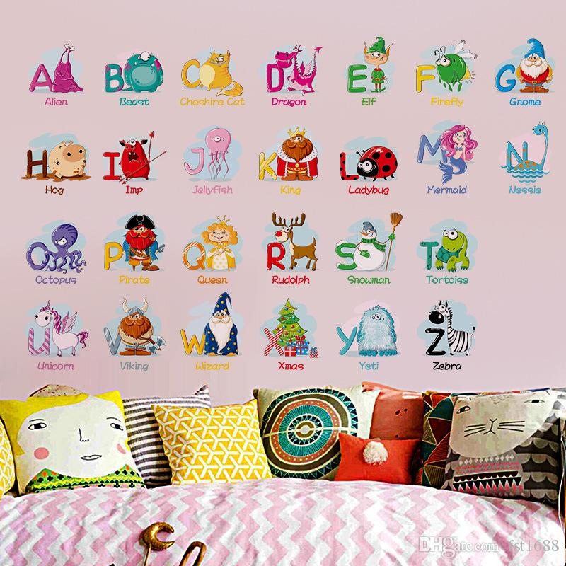 Wall Decals Alphabet ABC Sticker Nursery Kids Room Learn Educational Toddler