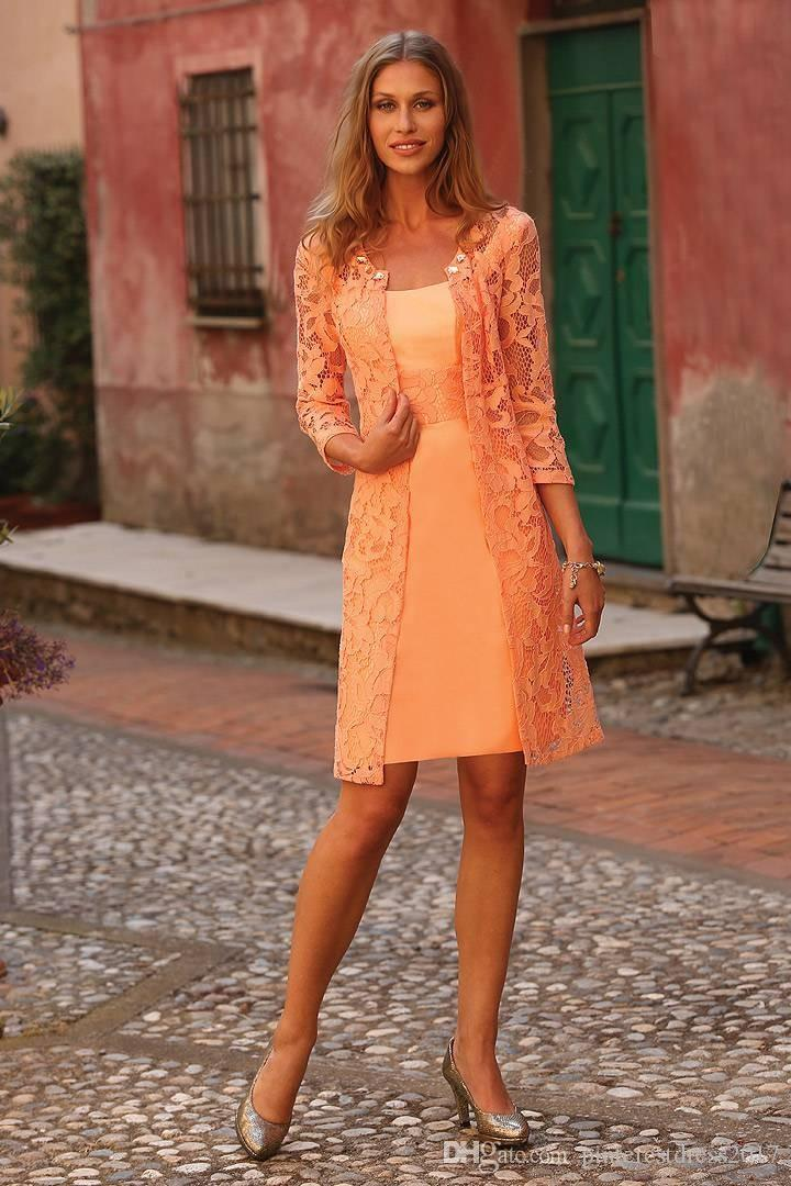 2017 Short Orange Mother Of The Bride Lace Dress With Jacket Crystals Mother Evening Prom Dress Plus Size Mother Of The Brides Dresses Mother Of The