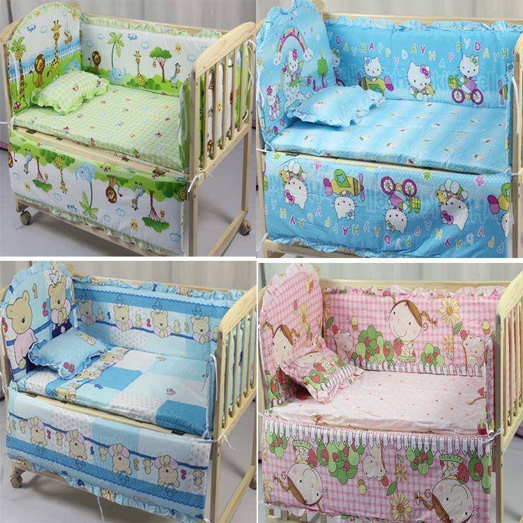 Wholesale Baby Room Decor 5 Pcs/sets Animal Baby Bedding Set 100% Cotton Curtain Crib Bumper 100*58cm Washable Baby Bed Bumper