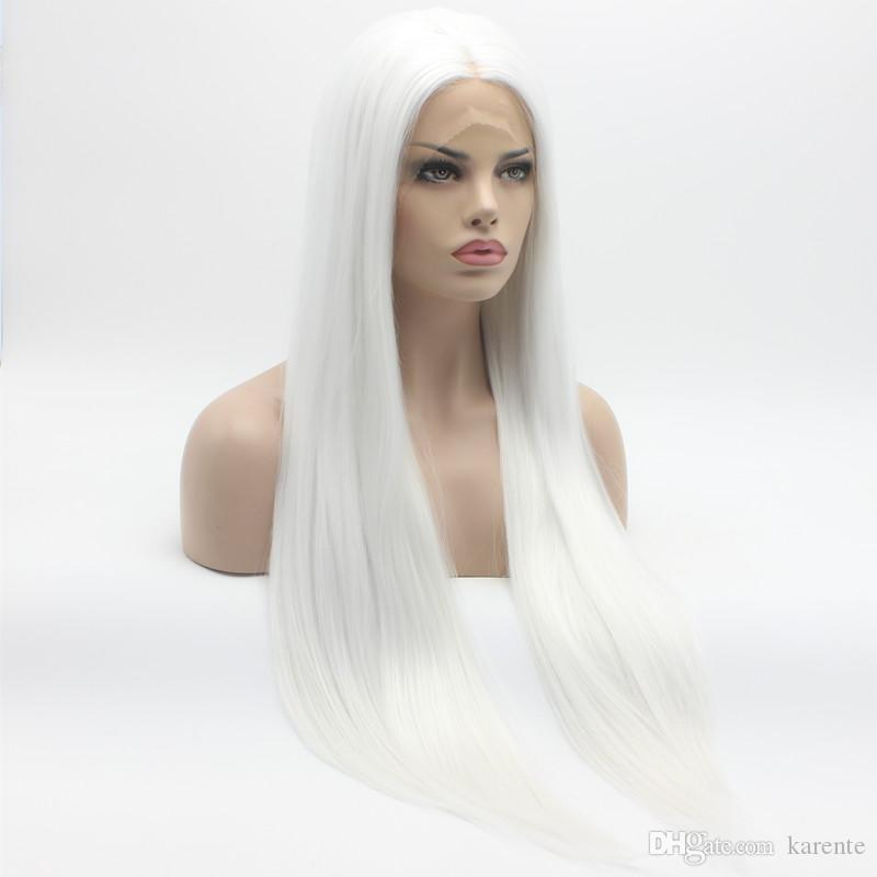 Iwona Hair Straight Extra Long White Wig 22 1001 Half Hand Tied Heat Resistant Synthetic Lace Front Wigs Blonde Lace Front Wigs Heat Resistant Wigs From Karente 40 06 Dhgate Com