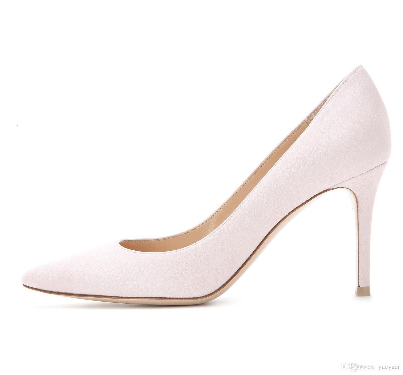 Zandina Handmade Fashion 8cm High Heel Pumps Simple Style Slip-on Pointy Party Evening Wedding Stiletto Shoes Pink K361