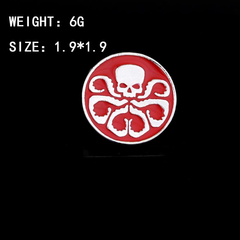MQCHUN Agentes De Escudo S.H.I.E.L.D. Hail Hydra Pin Broche Cráneo rojo Broches de metal Pines redondos Accesorios de cosplay
