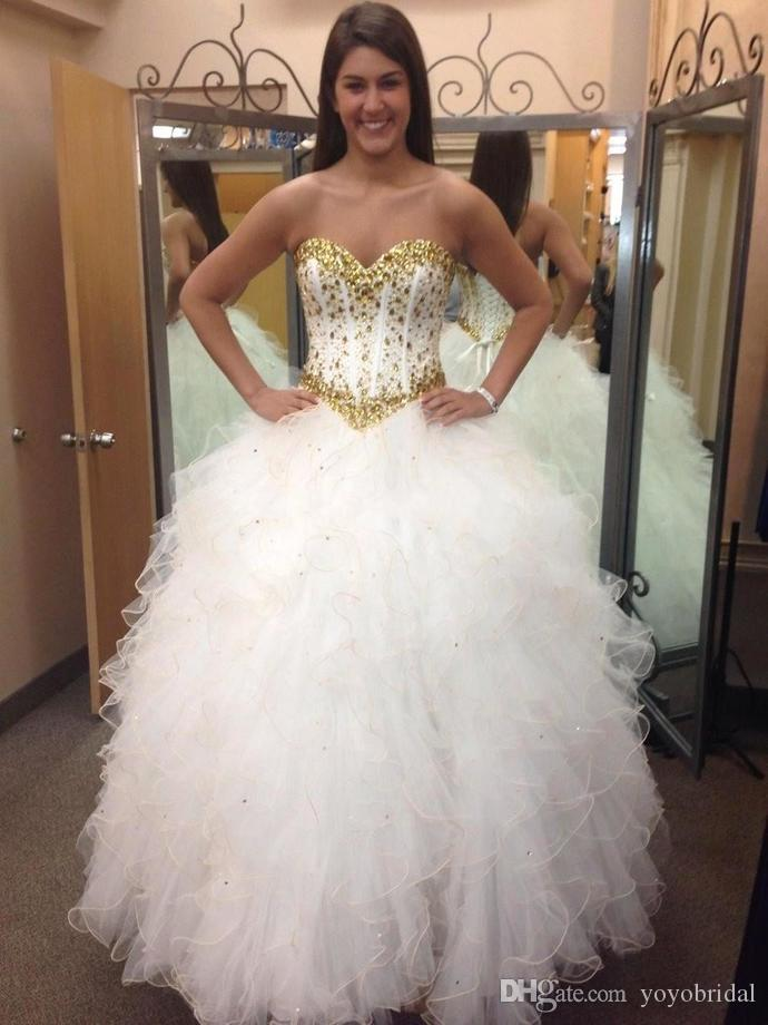 2017 White With Gold Corset Prom Dress Ball Gown Sweetheart Sequin ...
