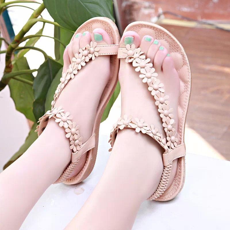 2017 Новый стиль Богемия модные сандалии женская обувь летний стиль национальный стиль ветер цветы плоские сандалии для женщин
