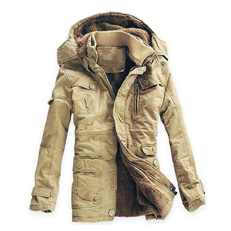 All'ingrosso Plus Size 5XL spessore inverno cappotto degli uomini Cotone collo in pelliccia russi inverno lungo Parkas Mens Slim Fit Moda outcoat neve calda Giacche