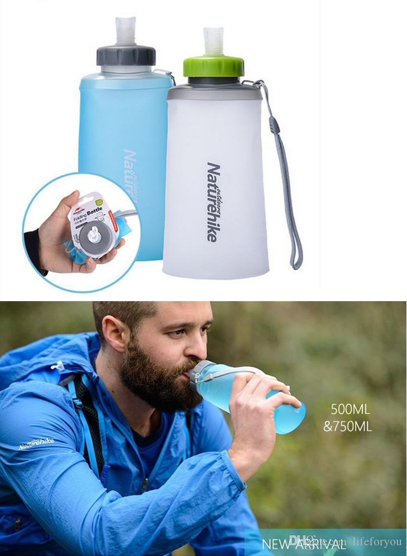 bouteille d'eau bouteille d'eau portable bouteille de sport en plein air portable bouteille pliable tasse Matériel TPU de qualité alimentaire sans BPA 500/750 ml