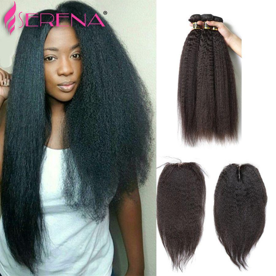 8A Mongolian Kinky Straight Hair With Closure,Lace Closure With 3 Bundles Coarse Italian Yaki Virgin Hair 4 Pcs Human Hair Weave