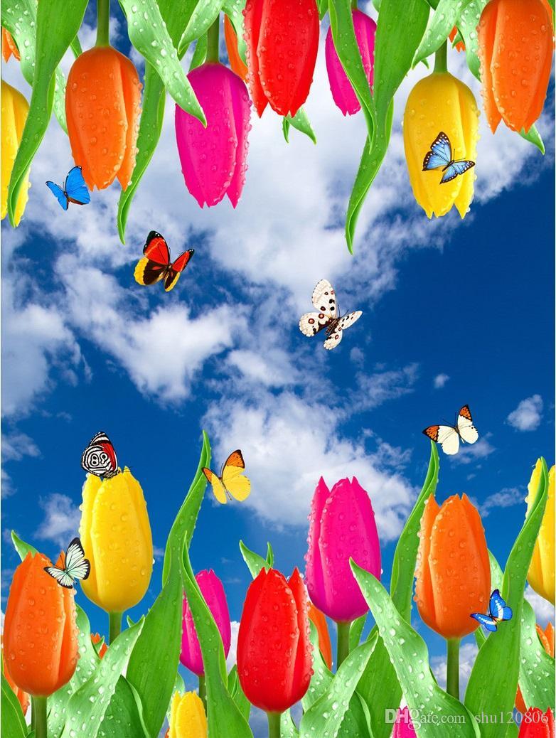 3d wallpaper custom photo non woven picture blue sky white clouds 3d wallpaper custom photo non woven picture blue sky white clouds tulip butterfly 3d wall