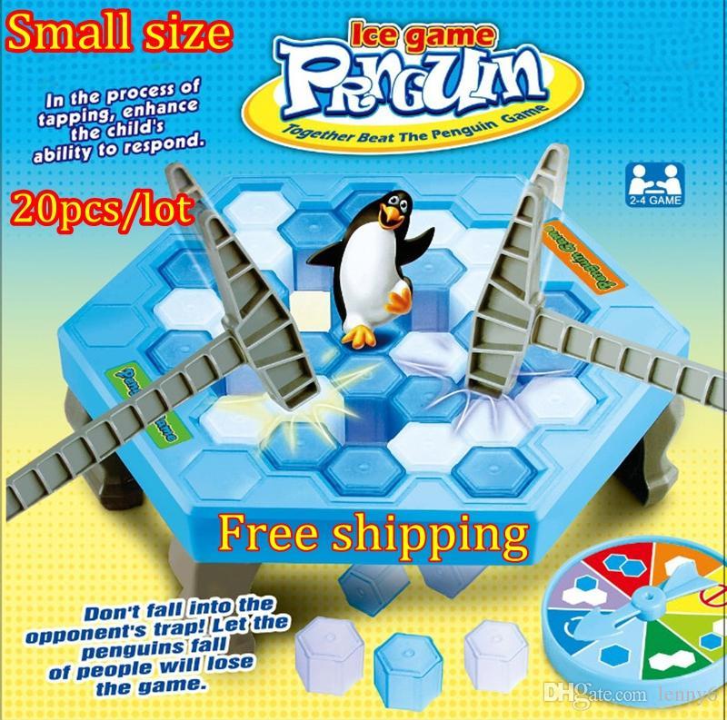 10pcs / lot 작은 펭귄 함정 재미 있은 테이블 게임 상호 작용하는 오락을 활성화하십시오 장난감 얼음 쪼개는 펭귄 가족 재미 게임 장난감 얼음 게임을 저장하십시오