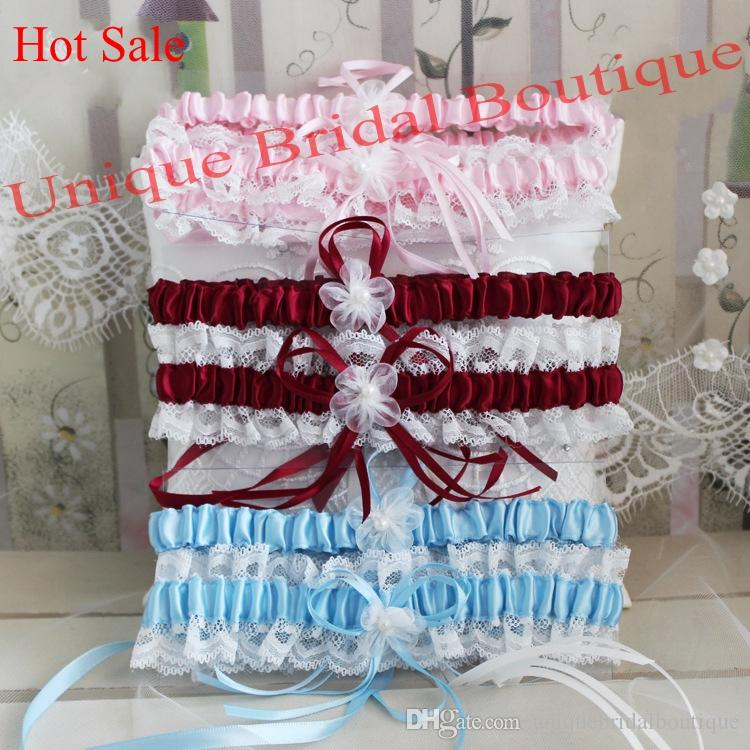 Bridal Garter Set Hot Sale 2-Piece Wedding Garters in Burgundy Pink Sky Blue Navy Blue Colors Satin & Lace Garter with Pearls & Flowers