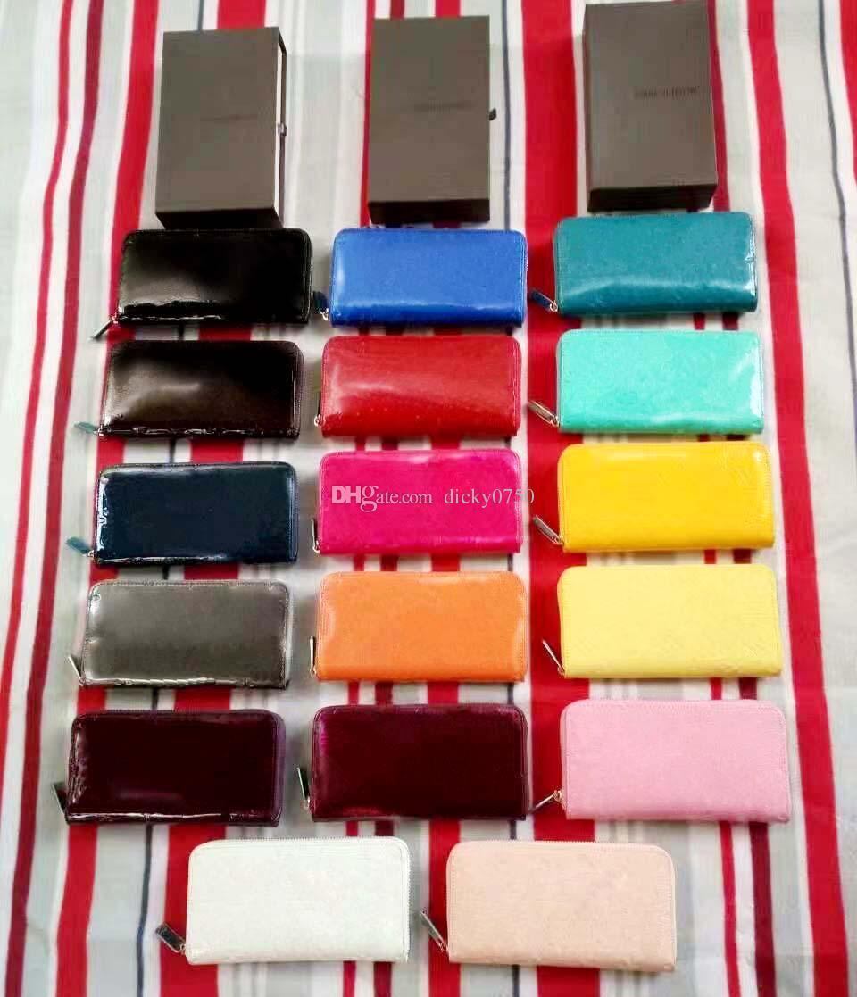 2017 großhandel lackleder shinny lange brieftasche multicolor mode hohe qualität original box geldbörse frauen klassische reißverschlusstasche luxus