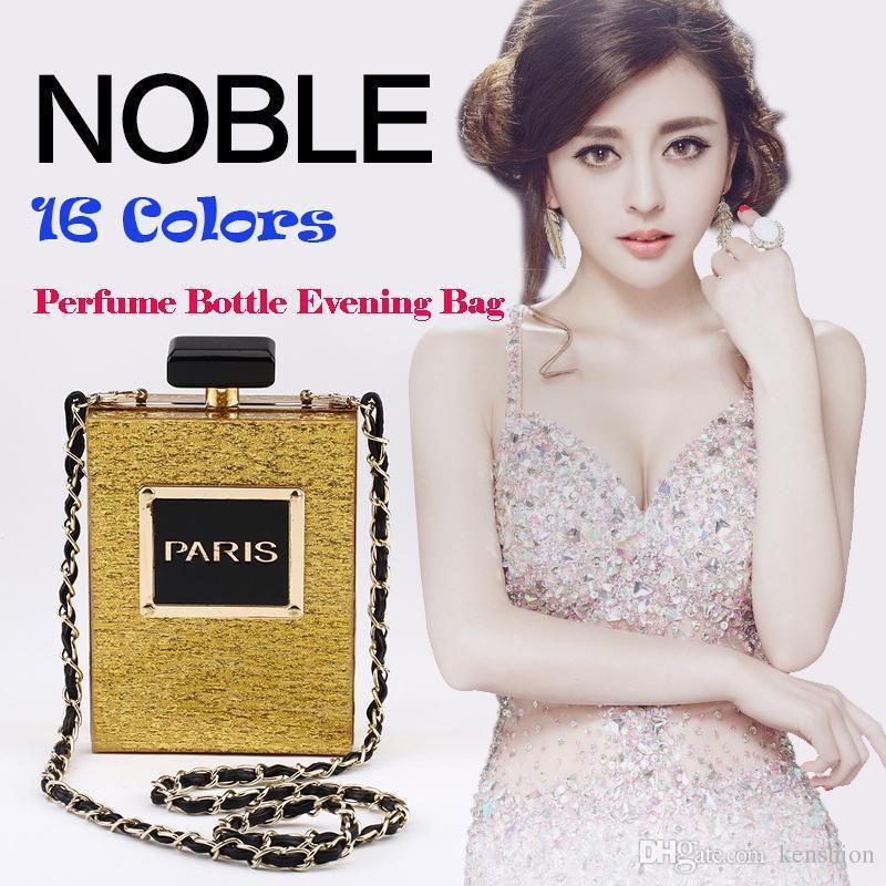 Hot Fashion 12 Colors Brand PARIS Perfume Bag Bottle Shape Handbag Clutch Acrylic Evening Bags Chain Messenger with Shoulder Strap - PZ01