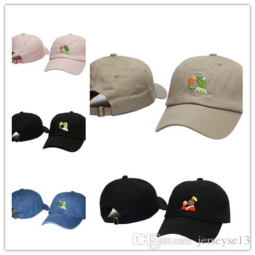 Wholesale Kermit Tea Hat The Frog Sipping Drinking Tea Baseball Dad Visor Cap Emoji New Popular 6 Panel polos caps hats for men and women