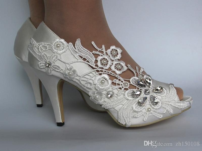 Cheap white silk lace open toe crystal Wedding Shoes Bridal Custom Made Dance Shoes For Wedding Activity Bridal Shoes Free Shipping
