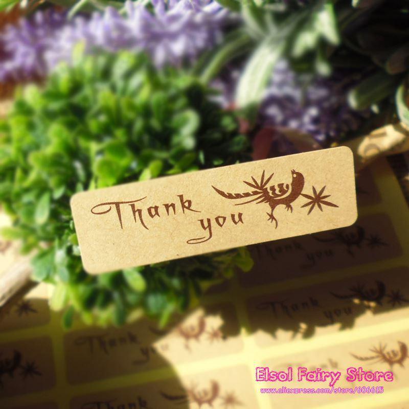 600pcs-Happy Bird Style Kraft Grazie Seal Sticker, Kraft fai da te punto adesivo regalo per il regalo di favore del partito di Candy Box Decor