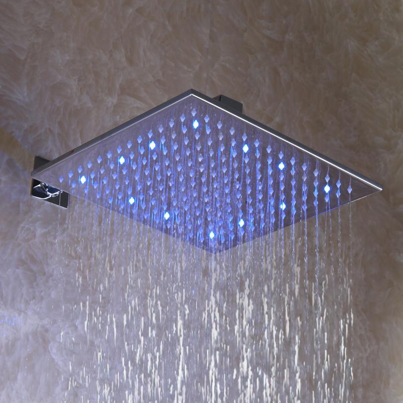 12 tum, kvadratisk krom överhead LED nederbörd duschhuvud (D003-2)