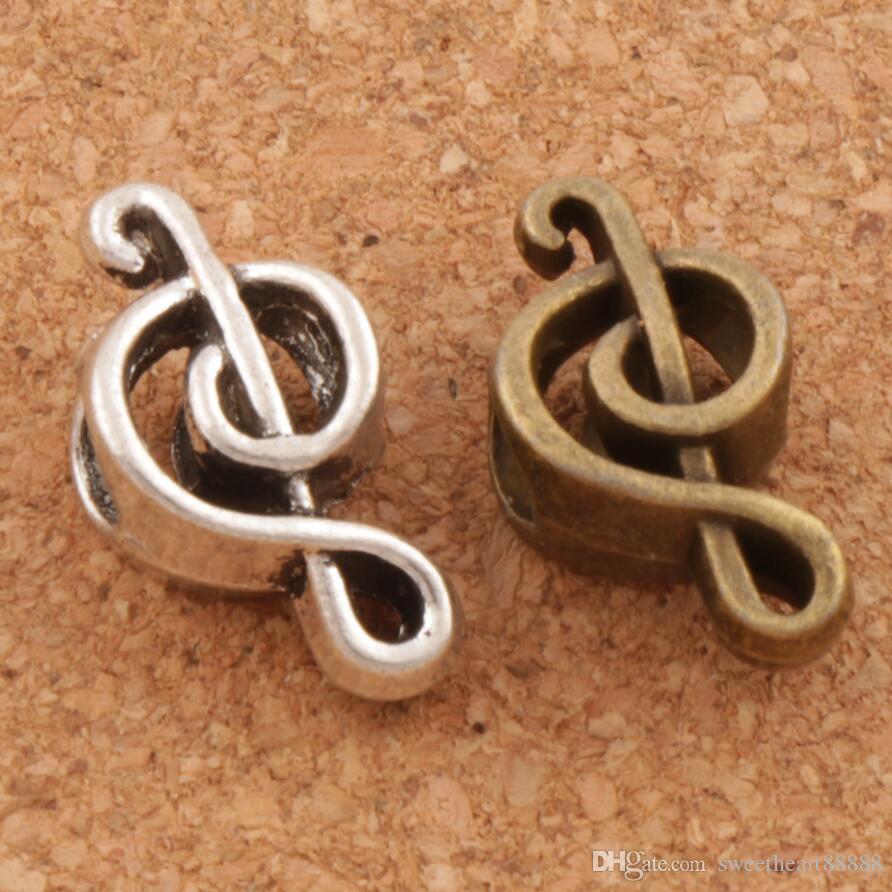 Musik Note Metall Großes Loch Perlen 100 / lot 18,4x9,5x7,3mm Antik Silber / Bronze Fit Europäischen Charme Armbänder Schmuck DIY L1449