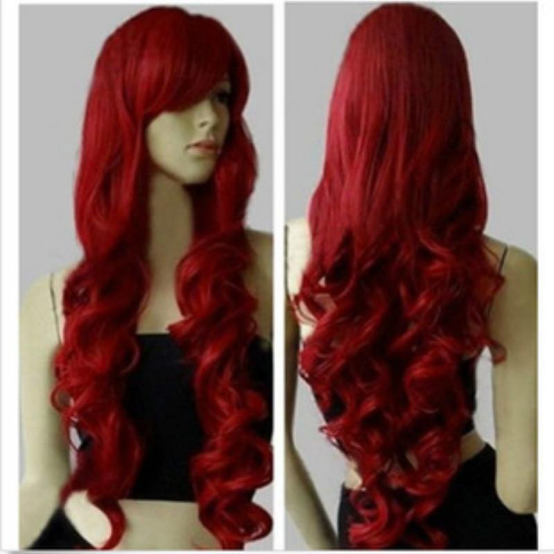 80 centimetri lungo Cosplay parrucche rosse scure Parrucche ricci per donna Perruque Peluca Peruca Parrucca Capelli Parrucca sintetica