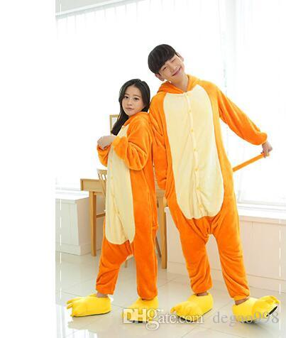 """(wholesale/retail) flannel animal jumpsuit cartoon long-sleeved autumn winter """"nightgown"""" clothing length yellow/yellow/orange/purple S/M/L/"""