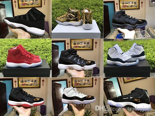2018 hommes avec la boîte et les femmes 11S Space Jam Gym Or rouge minuit Marine Concord Haute Chaussures de basket pour les chaussures de sport pour hommes