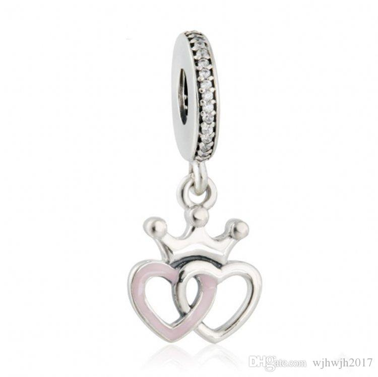 New Interlocked Heart Charms Pendants Authentic 925 Sterling Silver Pink Enamel Princess Crown Beads For Jewelry Making DIY Bracelets