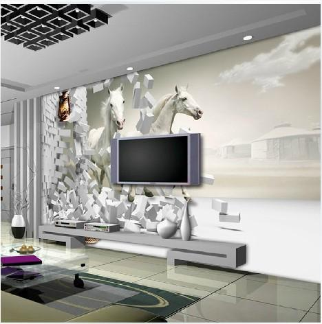 Waterproof Photo Modern Fashion White Horse White Brick Wall Running Art Customized Tv Sofa Background Large 3d Mural Wall Wallpaper Gallops Wallpaper